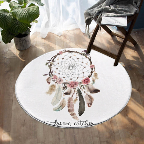 Bohemian Floral Dreamcatcher Decorative Round Rug, Dreamcatcher Gift-Moon & Back