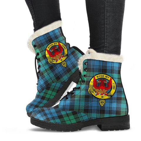Campbell Crest Tartan Leather Boots, Vegan Faux Fur Leather Boots-Moon & Back
