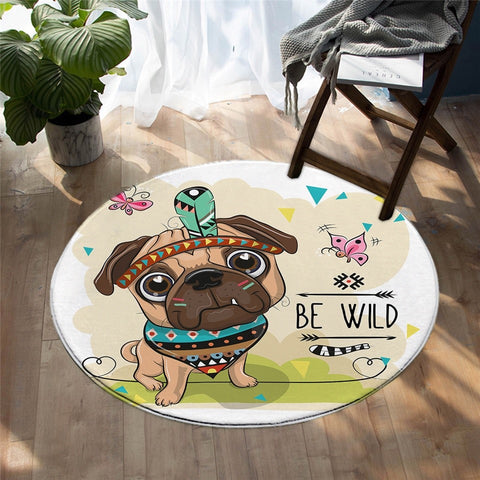 Cartoon Tribal Pug Theme Round Rug, Animal Lover's Rug-Moon & Back