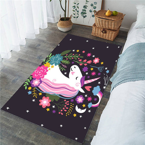 Cartoon Unicorn Rainbow Star Rectangular Rug, Floral Unicorn Gift-Moon & Back