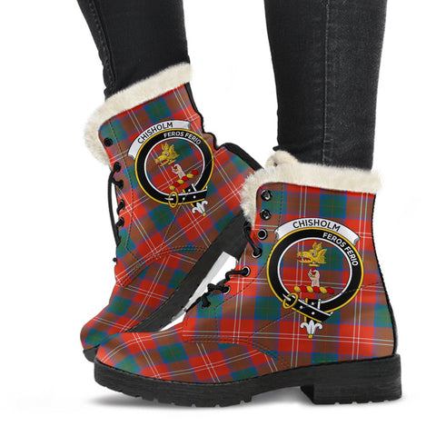 Clan Chisholm Ancient Plaid Boots with Crest, Vegan Faux Fur Leather Boots-Moon & Back