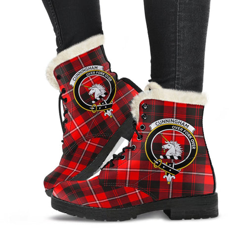 Clan Cunningham Modern Plaid Boots, Vegan Faux Fur Leather Boots-Moon & Back