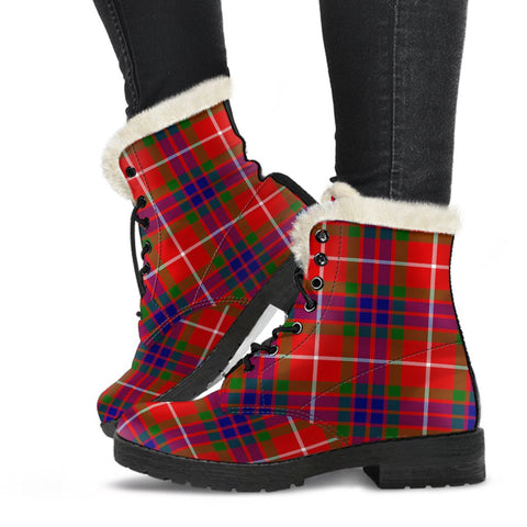 Clan Fraser Modern Plaid Boots, Vegan Faux Fur Leather Boots-Moon & Back