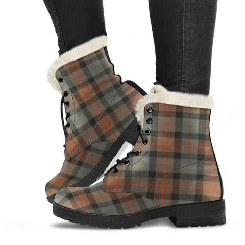 Clan MacLaren Weathered Plaid Boots, Vegan Faux Fur Leather Boots-Moon & Back