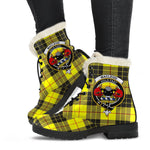 Clan MacLeod of Lewis Ancient Plaid Boots with Crest, Vegan Faux Fur Leather Boots-Moon & Back