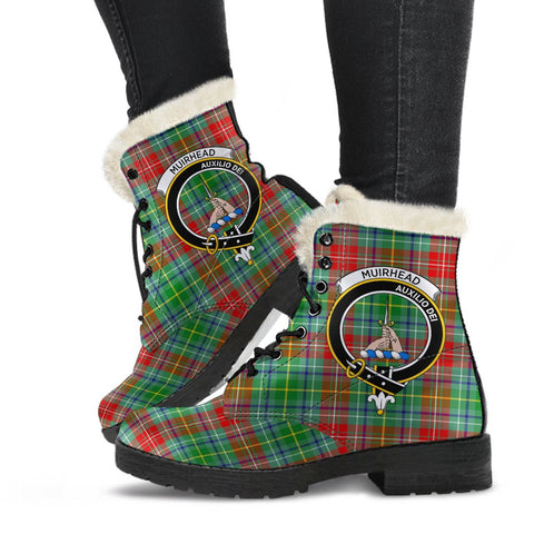 Clan Muirhead Plaid Boots with Crest, Vegan Faux Fur Leather Boots-Moon & Back