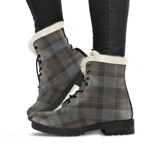 Clan Outlander Fraser Plaid Boots, Vegan Faux Fur Leather Boots-Moon & Back