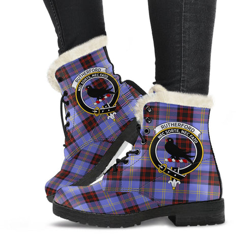 Clan Rutherford Plaid Boots with Crest, Vegan Faux Fur Leather Boots-Moon & Back