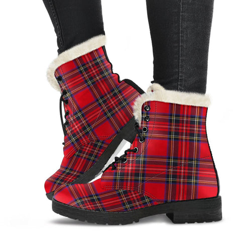 Clan Stewart Royal Modern Plaid Boots, Vegan Faux Fur Leather Boots-Moon & Back