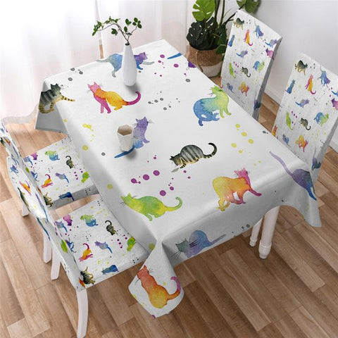 Colorful Cats Decorative Tablecloth, Tablecover For Cat Lovers-Moon & Back