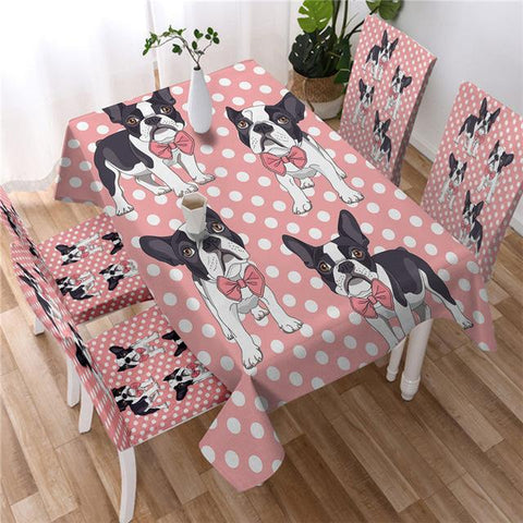 Colorful Dog Decorative Tablecover, Boston Terrier Kitchen Tablecloth-Moon & Back