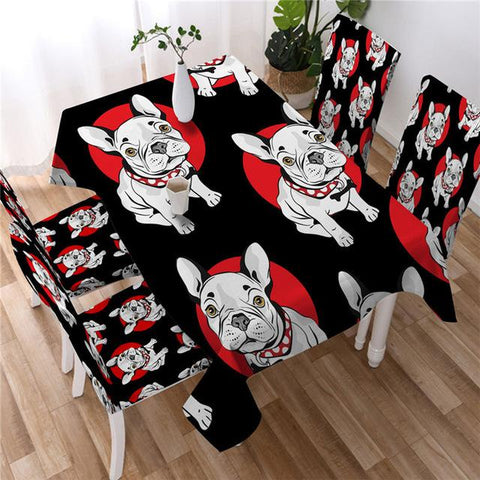 Colorful Dog Decorative Tablecover, Tablecloth For Bulldog Lovers-Moon & Back