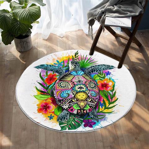 Colorful Floral Turtle With Hippie Design Round Rug-Moon & Back