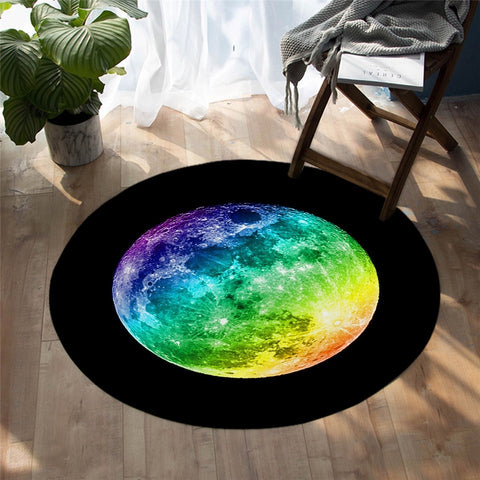 Colorful Full Moon On The Black Background Round Rug-Moon & Back