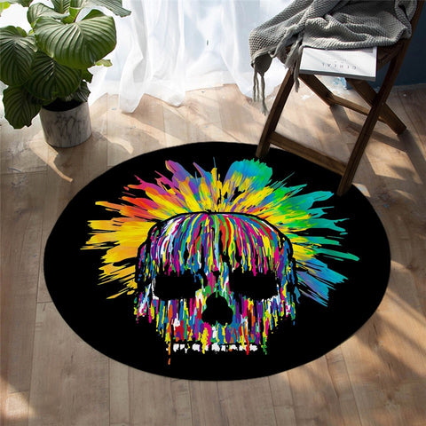 Colorful Gothic Skull Watercolor Round Rug-Moon & Back