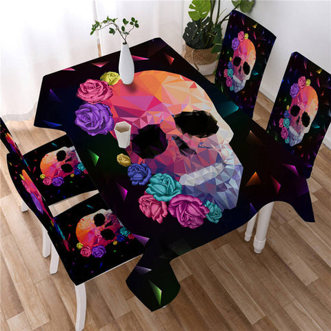 Colorful Gothic Vivid Skull Decorative Rectangular Tablecloth-Moon & Back