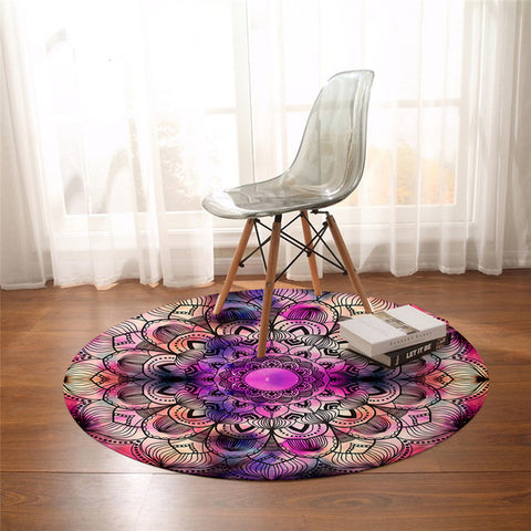 Colorful Mandala Floral Harmony Round Rug-Moon & Back