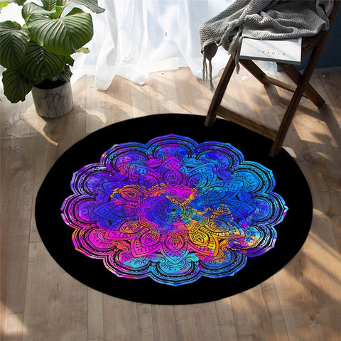 Colorful Mandala Style Flower Round Rug, Bohemian Rug-Moon & Back