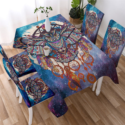 Colorful Owl Theme Tablecloth, Tablecover For Owl Lovers-Moon & Back
