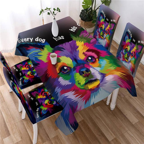 Colorful Pomeranian Decorative Tablecover, Dog Lovers Tablecloth-Moon & Back