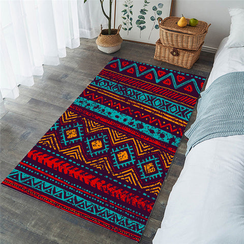Colorful Southwestern Decorative Rectangular Rug, Aztec Gift-Moon & Back