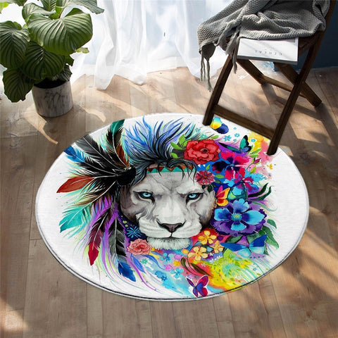Colorful Tribal Lion Decorative Floral Round Area Rug-Moon & Back