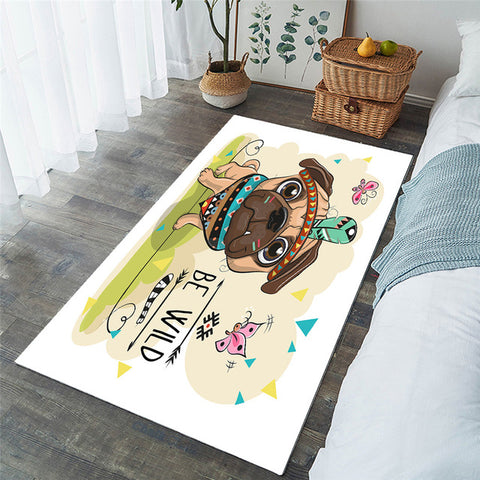 Cute Cartoon Tribal Pug Dog Rectangular Area Rug-Moon & Back