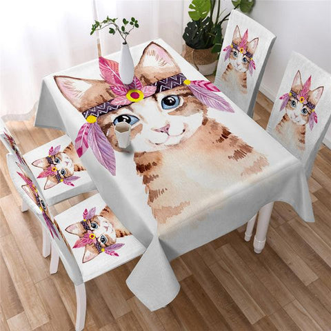 Cute Cat White Tablecloth, Tablecover For Cat Lovers-Moon & Back
