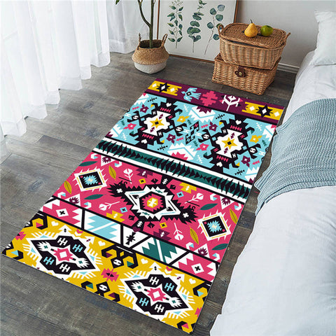 Ethnic Geometric Pattern Colorful Rectangular Rug, Aztec Rug-Moon & Back