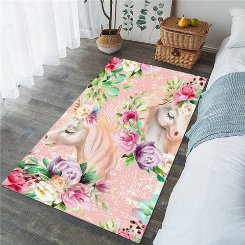 Floral Unicorn Rectangular Pink Rug, Unicorn Lover's Gift-Moon & Back