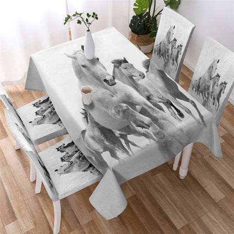 Galloping Horses White Tablecloth, Gift For Horse Lovers-Moon & Back