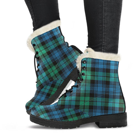 Leather Boots - Clan Blackwatch Ancient Plaid Boots-Moon & Back