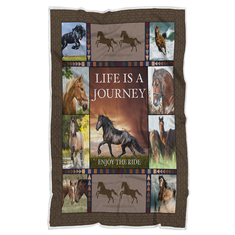 Life is a Journey Horse Pattern Blanket, Blanket for Horse Lovers-Moon & Back