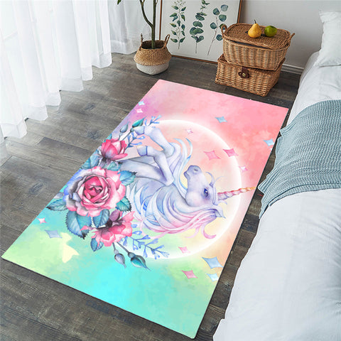 Lovely Floral Unicorn Rectangular Rug, Unicorn Lover's Rug-Moon & Back