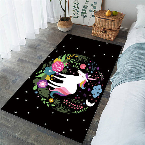 Magical Unicorn Floral Rectangular Rug, Unicorn Lover's Gift-Moon & Back