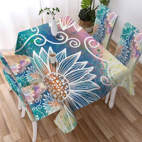 Mandala Bohemian Sunflower Decorative Rectangular Tablecloth-Moon & Back