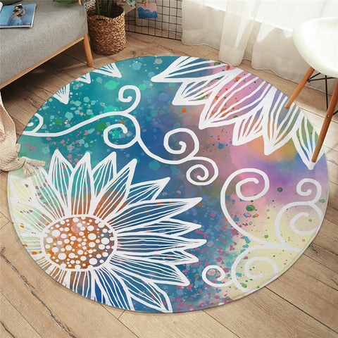 Mandala Bohemian Sunflower Decorative Round Rug-Moon & Back