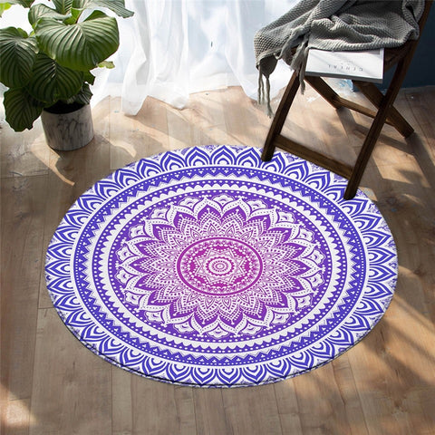 Mandala Style Colorful Round Rug, Bohemian Decorative Rug-Moon & Back