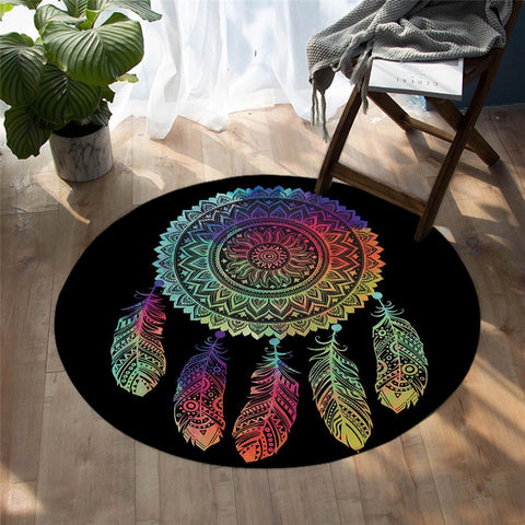 Mandala Style Dreamcatcher Decorative Colorful Round Area Rug-Moon & Back