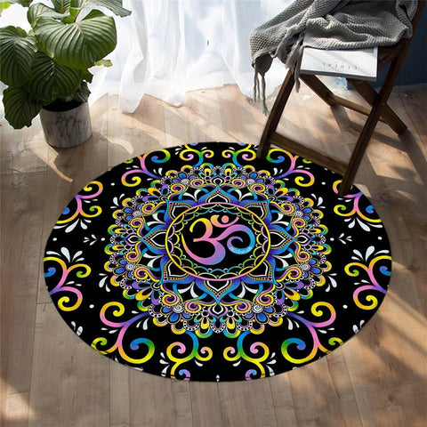 Mandala Style Harmony Magic Colorful Round Area Rug-Moon & Back