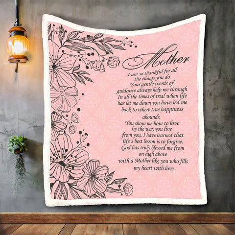 Mom Quote Blanket, Blankets for Mothers, Unique Mother's Day Gift-Moon & Back