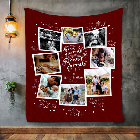 Personalized Blanket Gift from Best Parents to Grandparents-Moon & Back