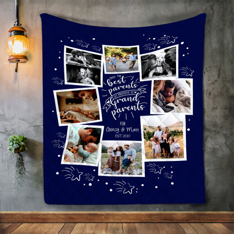 Personalized Photo Blue Blanket, Parents, Grandparents, Family Gift-Moon & Back