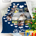 Personalized Heart Pattern Couple Blanket, Gift For Couples-Moon & Back