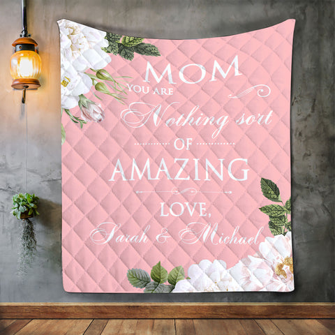 Personalized Mom Blanket, Mother's Day Gift, Floral Blanket For Mom-Moon & Back