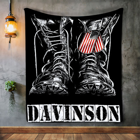 Personalized USA Veteran Soldier Patriotic Military Blanket, Birthday, Valentines Gift-Moon & Back