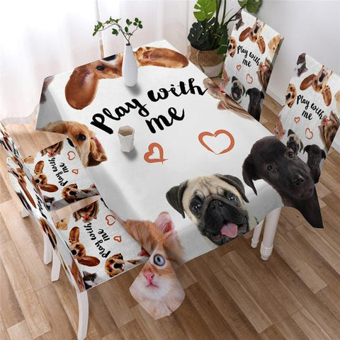 Play With Me Pet Kitchen Tablecloth, Pet Lovers Tablecover-Moon & Back