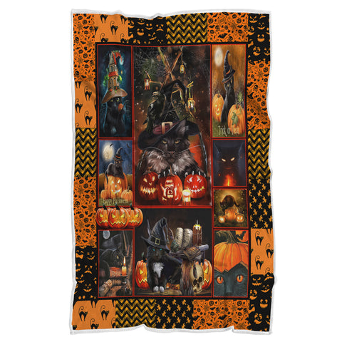 Puss in Boots Halloween Blanket Gift, Halloween Blanket Gift-Moon & Back