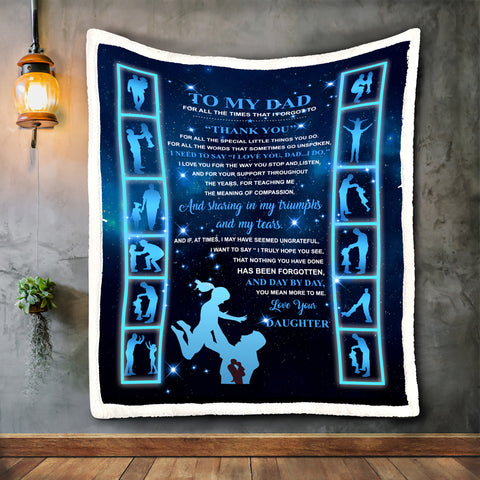 To My Beloved Dad Blanket, Daughter to Dad Blanket Gift-Moon & Back