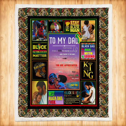 To My Black Dad Blanket, Black Fathers Matter Gift-Moon & Back